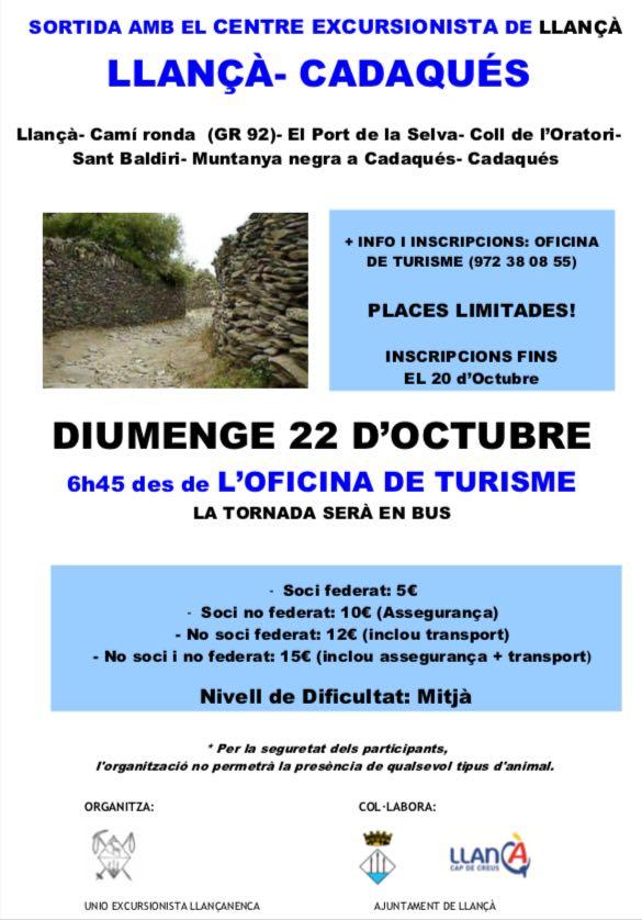 22 octubre: sortida Llançà-Cadaqués
