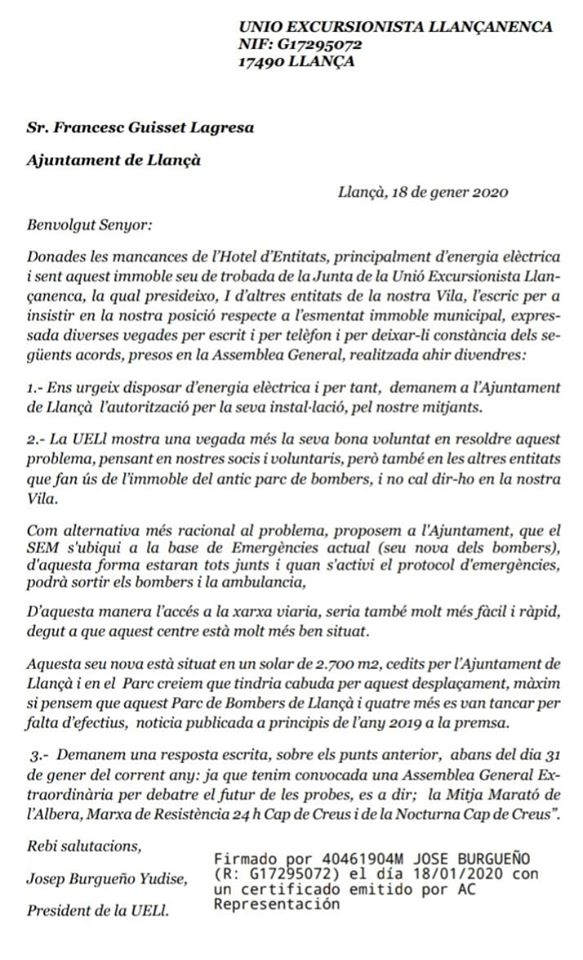 Carta del president de la UELL a l'alcalde